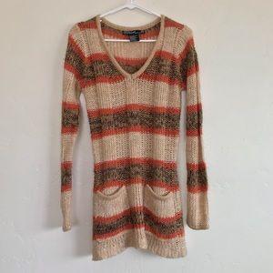 Ashley Striped Open Knit V Neck Sweater Size Large